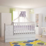 Children's cot Polini Simple 1100 with chest of drawers, white