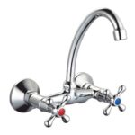 Two Handles Wall-mounted Faucet, cross handle bathroom faucet,cross handle bathroom sink faucet,cross handle faucet