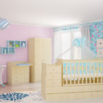 Children's cot Polini Simple 1100 with chest of drawers, beige