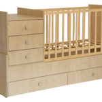 Children's cot Polini Simple 1000 with chest of drawers, natural