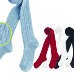 CHILDREN UNICOLORED STOCKINGS (RIBBED + BRAID DESIGN) 3rd category size